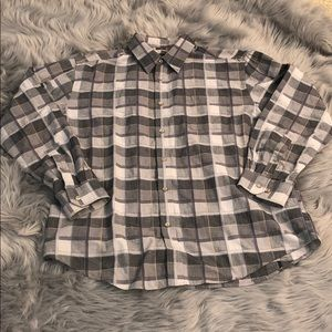 Other - Gray and light Blue Plaid Shirt Size XL